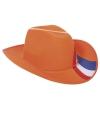 Oranje hoed met rood, wit en blauw
